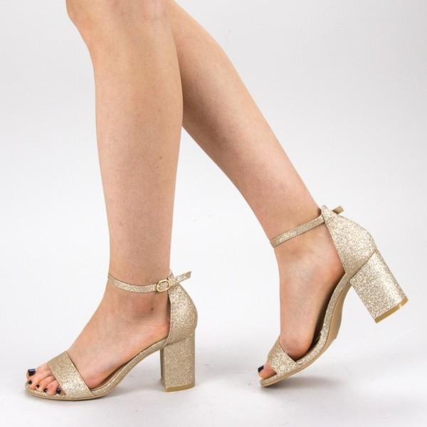 Sandale Dama cu Toc XKK166 Gold Mei