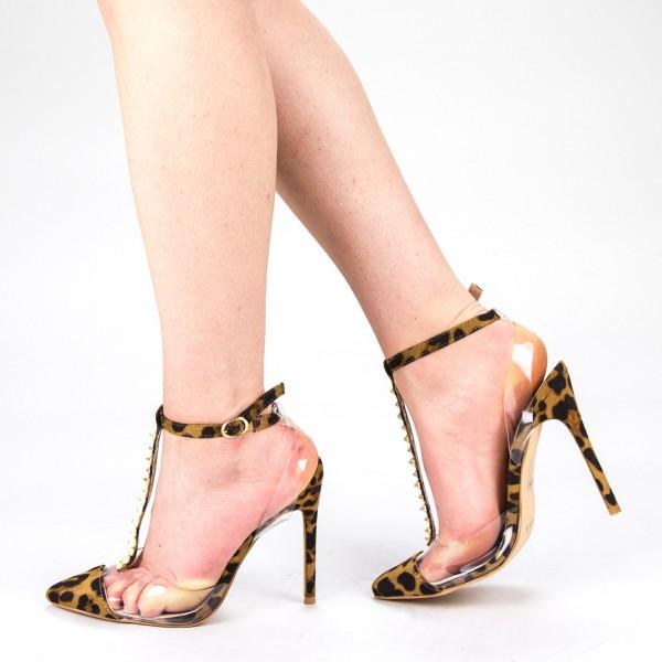 Sandale Dama cu Toc KV19 Leopard Mei