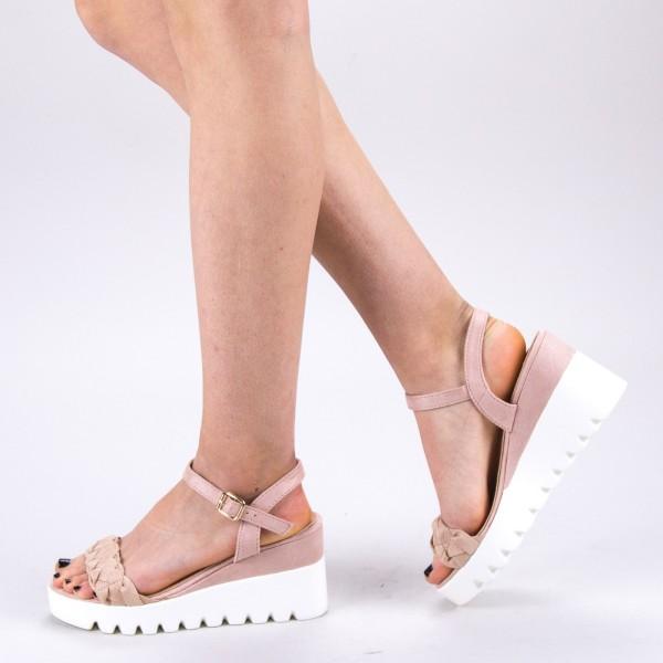 Sandale Dama cu Toc si Platforma LM255 Beige Mei