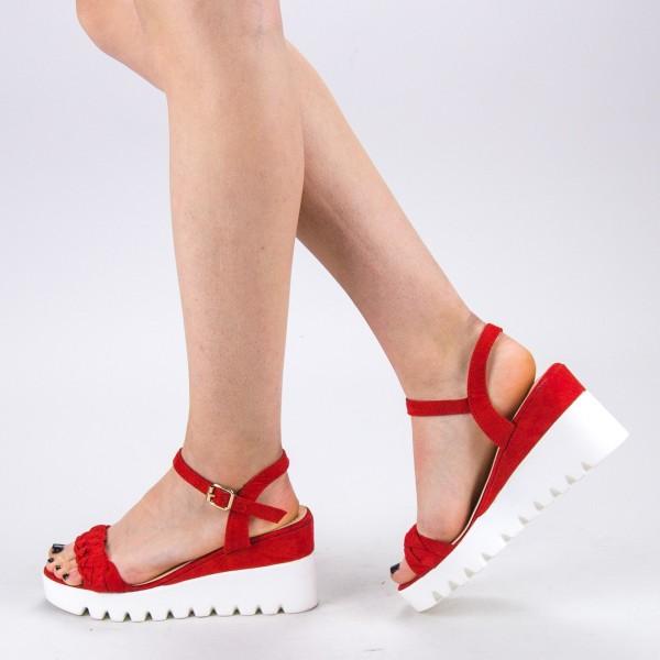 Sandale Dama cu Toc si Platforma LM255 Red Mei