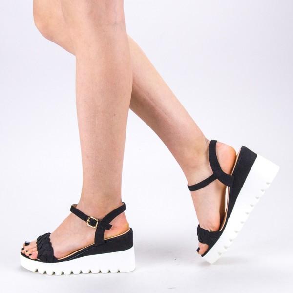 Sandale Dama cu Toc si Platforma LM255 Black Mei