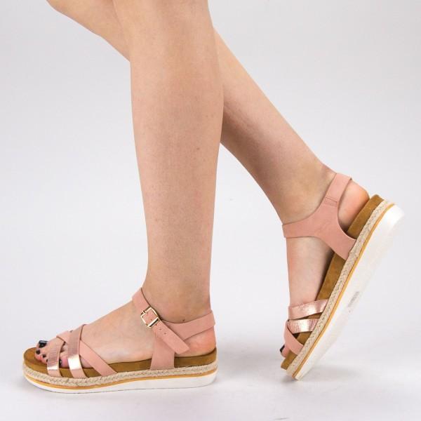 Sandale Dama cu Toc si Platforma WT65 Pink Mei