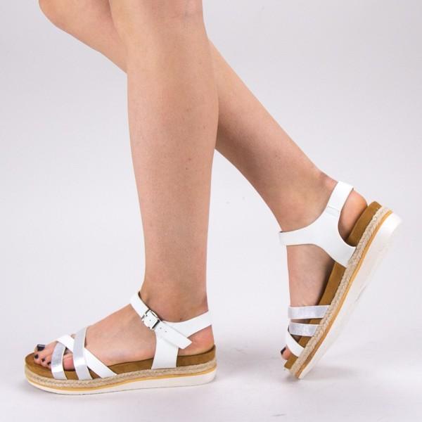 Sandale Dama cu Toc si Platforma WT65 White Mei