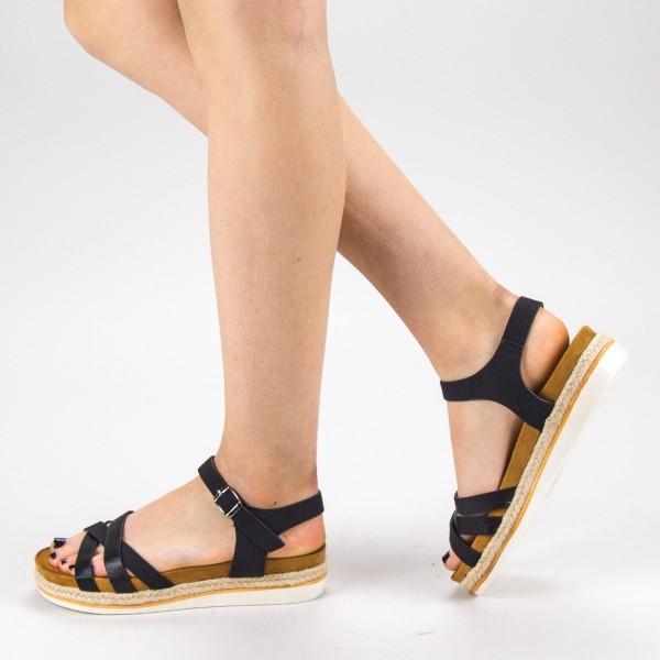 Sandale Dama cu Toc si Platforma WT65 Black Mei