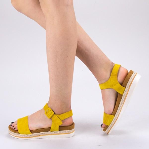 Sandale Dama cu Toc si Platforma WT63 Yellow Mei