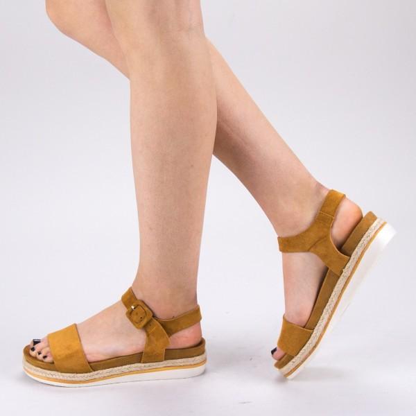 Sandale Dama cu Toc si Platforma WT63 Camel Mei