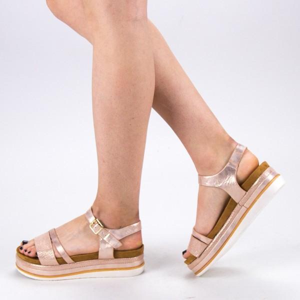 Sandale Dama cu Toc si Platforma WT56 Champagne Mei