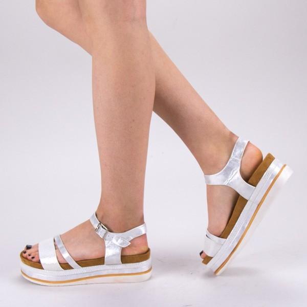 Sandale Dama cu Toc si Platforma WT56 White Mei