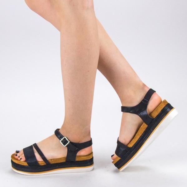 Sandale Dama cu Toc si Platforma WT56 Black Mei