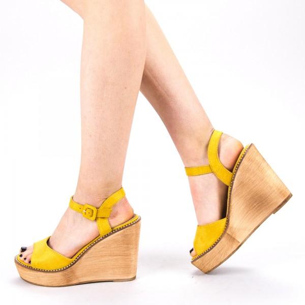 Sandale Dama cu Toc si Platforma WT62 SD Yellow Mei