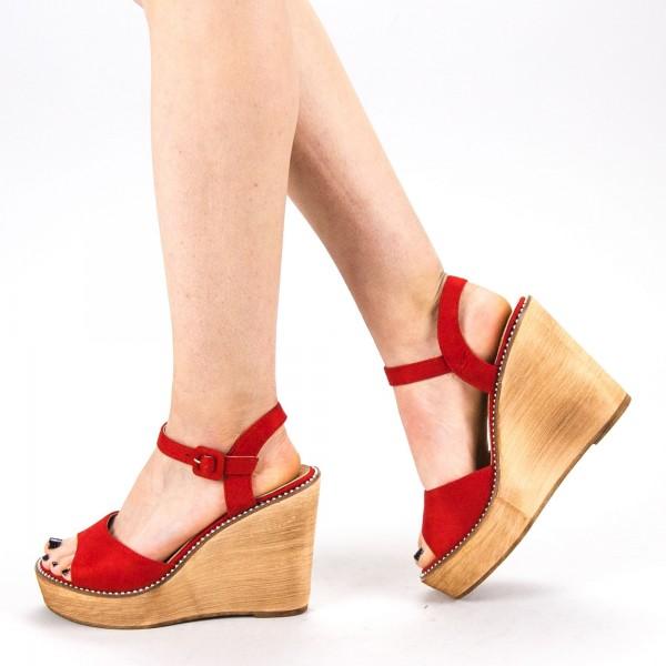 Sandale Dama cu Toc si Platforma WT62 SD Red Mei