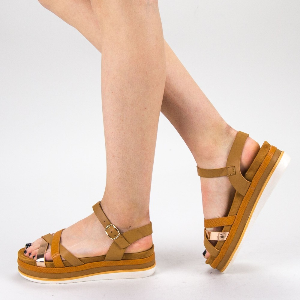 Sandale Dama cu Toc si Platforma WT55 Camel Mei