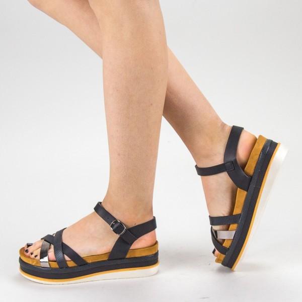 Sandale Dama cu Toc si Platforma WT55 Black Mei