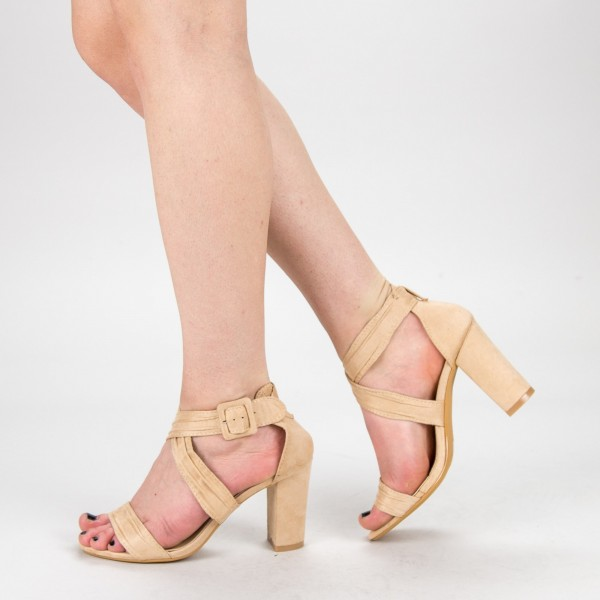 Sandale Dama cu Toc QZL162 Beige Mei
