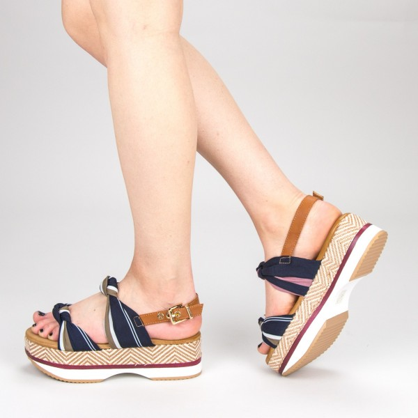 Sandale Dama cu Toc si Platforma GZXY6 Darkblue Mei