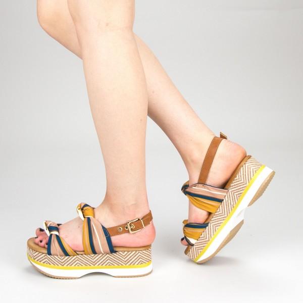 Sandale Dama cu Toc si Platforma GZXY6 Yellow Mei