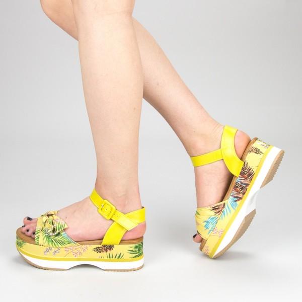 Sandale Dama cu Toc si Platforma GZXY5 Yellow Mei