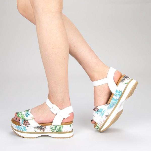 Sandale Dama cu Toc si Platforma GZXY5 White Mei