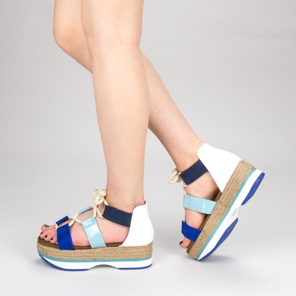 Sandale Dama cu Toc si Platforma GZXY2 Blue Mei