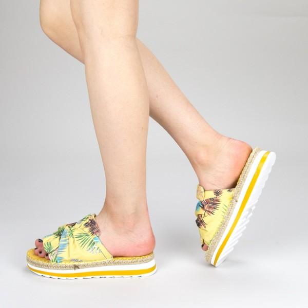 Papuci Dama cu Platforma YFF1 Yellow Mei