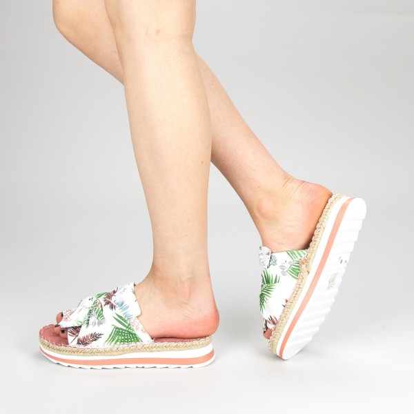 Papuci Dama cu Platforma YFF1 White Mei