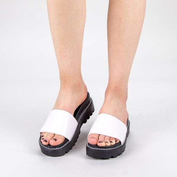 Papuci Dama cu Platforma TG10 White Mei