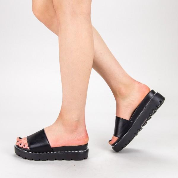 Papuci Dama cu Platforma TG10 Black Mei