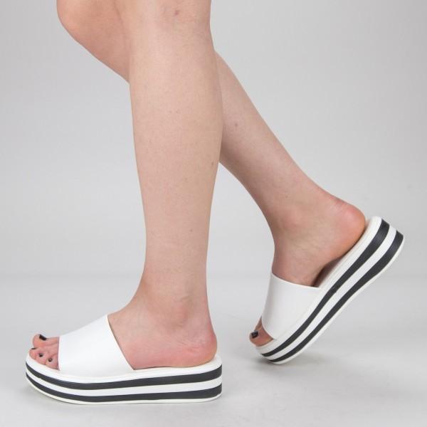 Papuci Dama cu Platforma TG12  White Mei