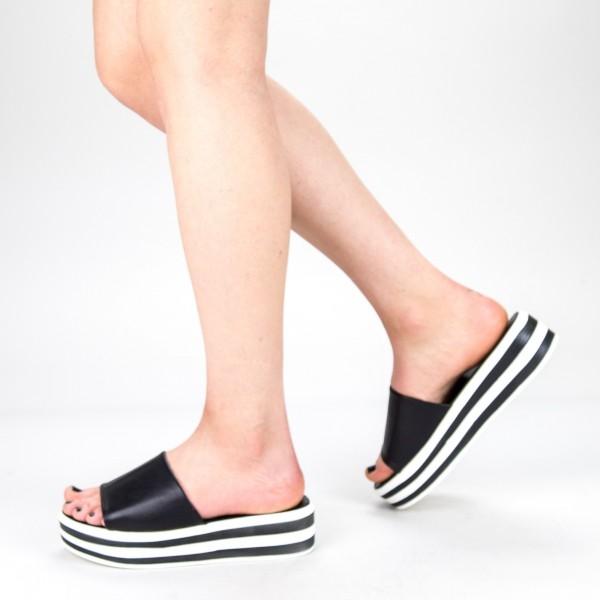 Papuci Dama cu Platforma TG12  Black Mei