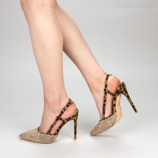 Pantofi Dama cu Toc KV18 Leopard Mei