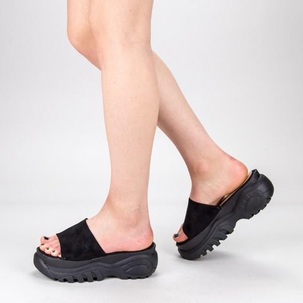 Papuci Dama cu Platforma G175 Black Mulanka