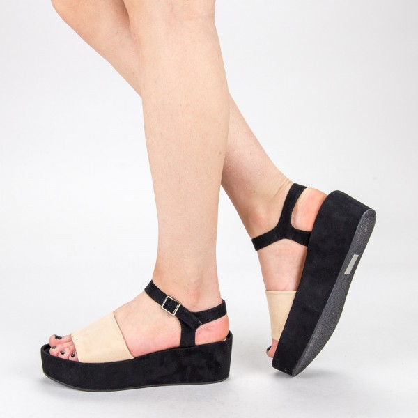 Sandale Dama cu Platforma 2017-19 Beige Mulanka