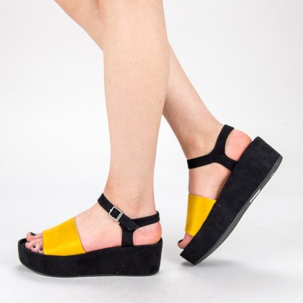 Sandale Dama cu Platforma 2017-19 Yellow Mulanka