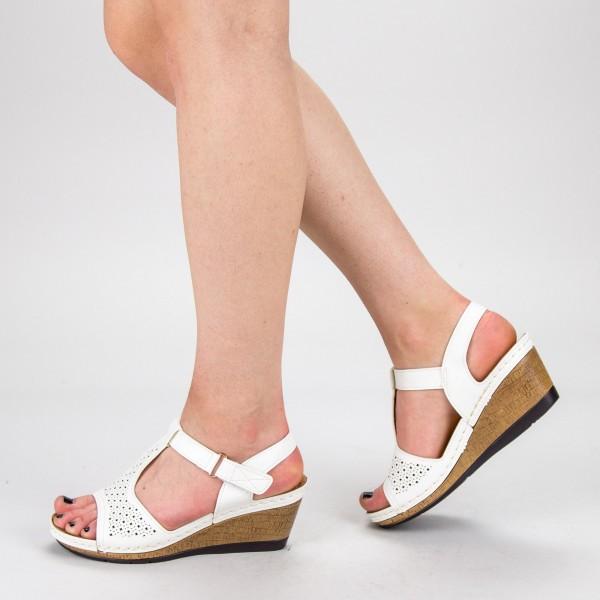 Sandale dama cu Toc F78-3 White Alogo