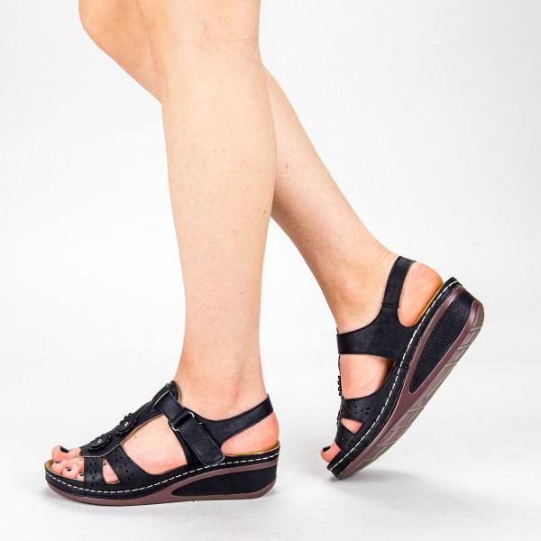 Sandale Dama cu Platforma F66-1 Black Alogo