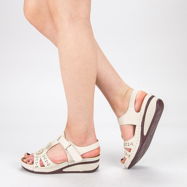Sandale Dama cu Platforma F66-9 Beige Alogo
