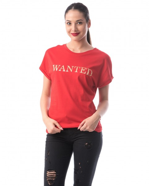 Tricou Dama 8124 WANTED Rosu Adrom