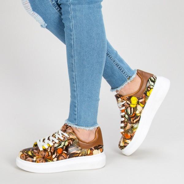 Pantofi Sport Dama cu Platforma W3013 Khaki Ideal Shoes