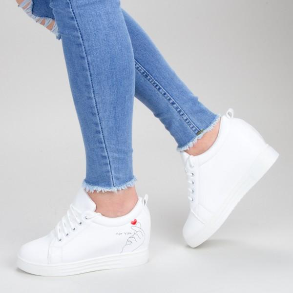 Pantofi Sport Dama cu Platforma 603 PSDP White Sport Fashion