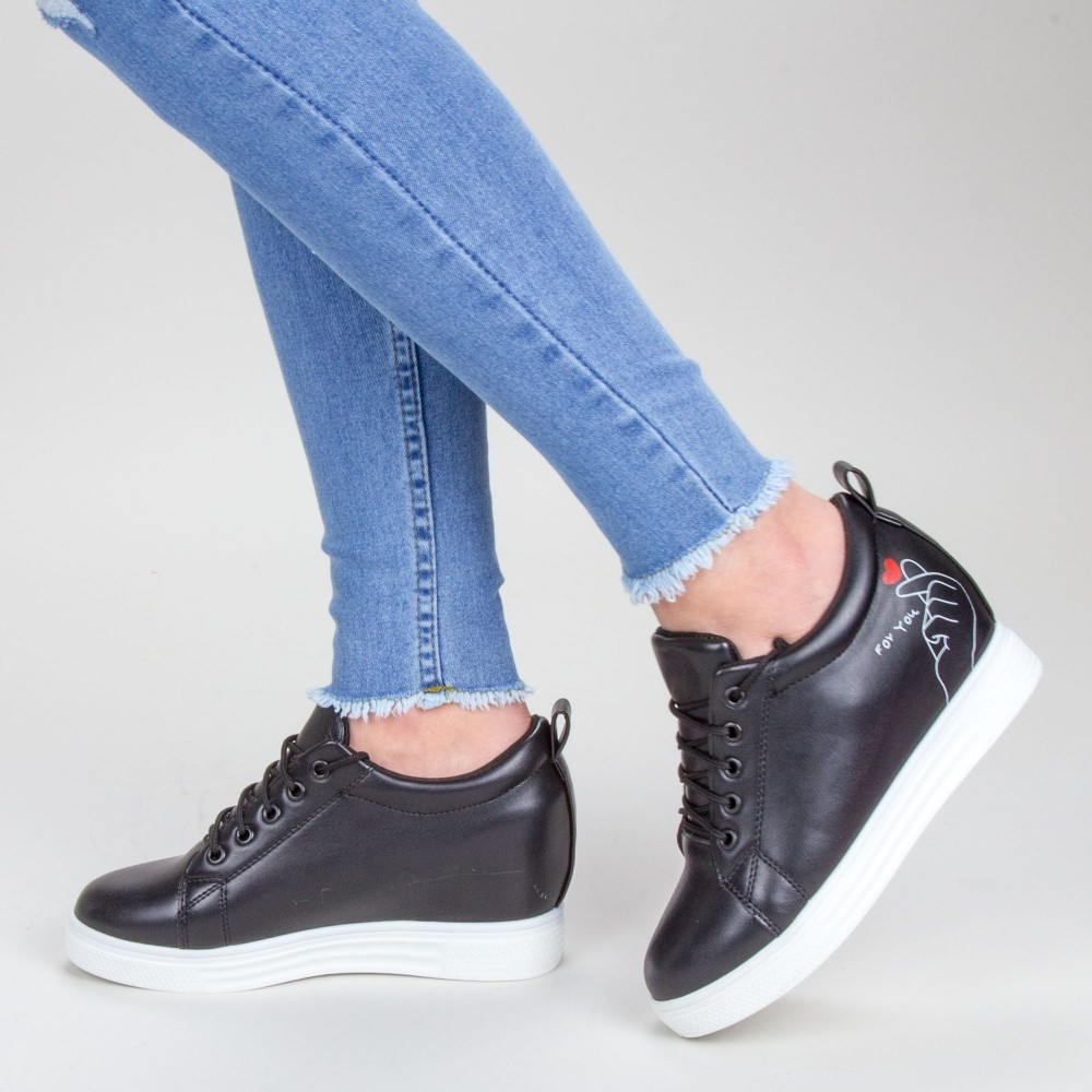 Pantofi Sport Dama cu Platforma 603 PSDP Black Sport Fashion