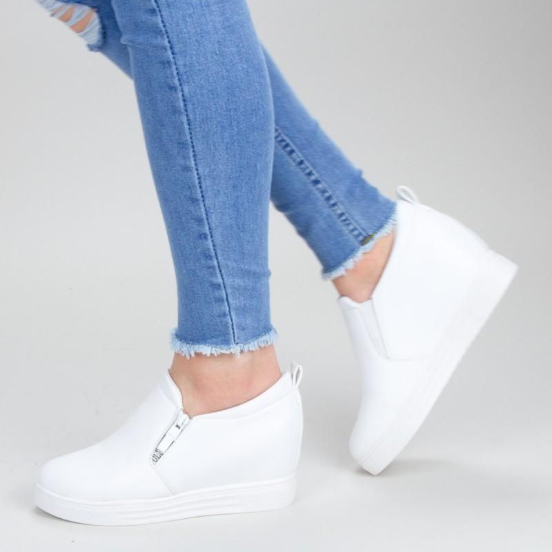 Pantofi Sport Dama cu Platforma 609 PSDP White Sport Fashion