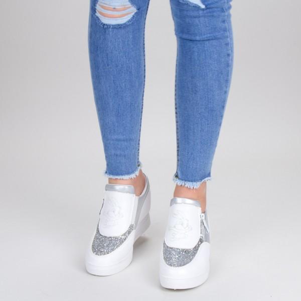 Pantofi Sport Dama cu Platforma 615 PSDP White Sport Fashion
