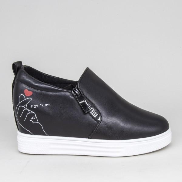 Pantofi Sport Dama cu Platforma 605 PSDP Black Sport Fashion