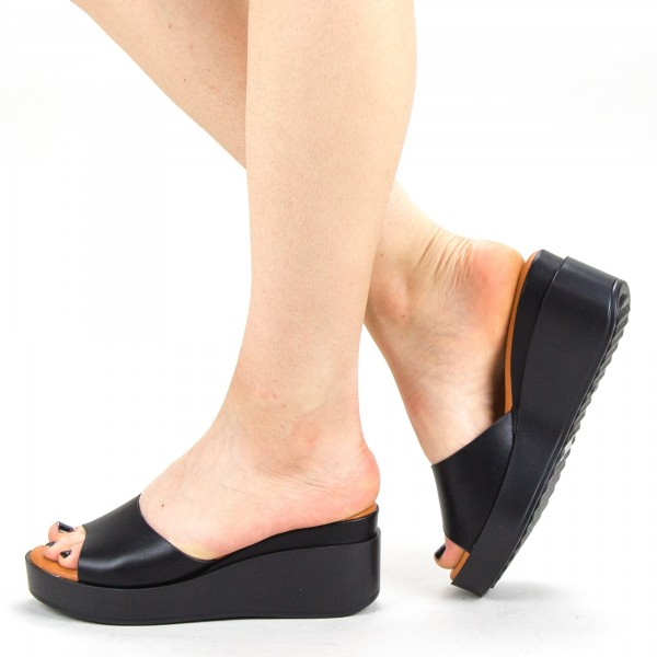 Papuci Dama cu Platforma QZL220 Black Mei