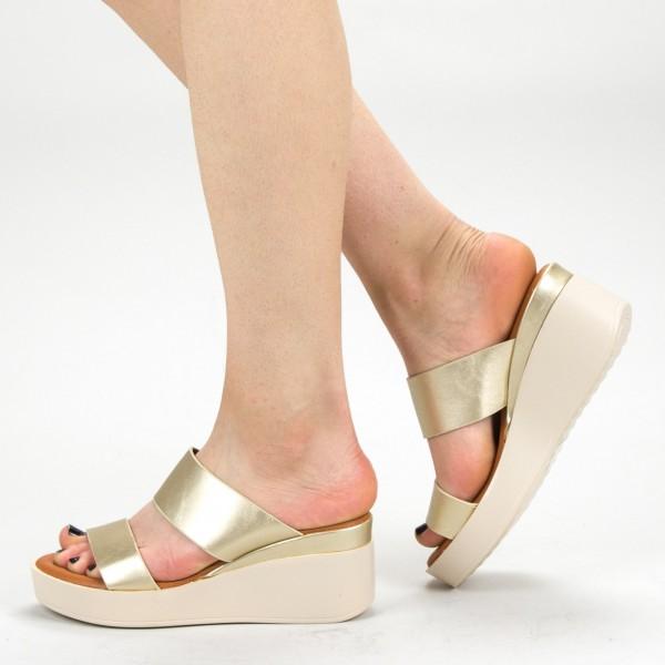 Papuci Dama cu Platforma QZL221 Gold Mei