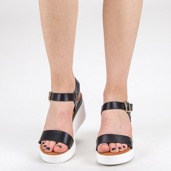 Sandale Dama cu Platforma QZL222 Black Mei