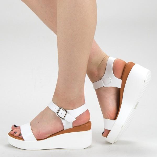 Sandale Dama cu Platforma QZL222 White Mei