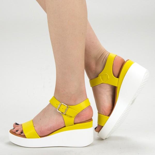 Sandale Dama cu Platforma QZL222 Yellow Mei