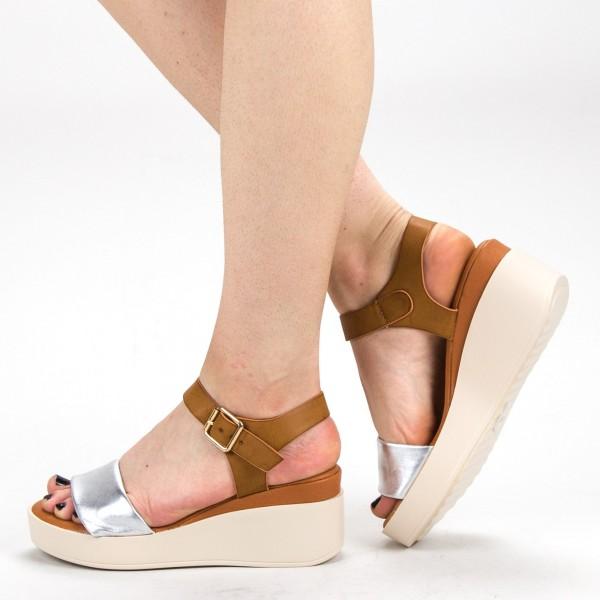 Sandale Dama cu Platforma QZL223 Silver Mei