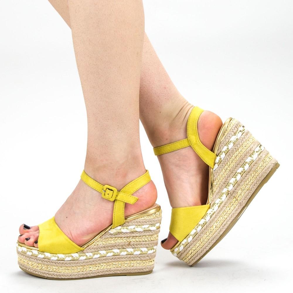 Sandale Dama cu Platforma YBS22 Yellow Mei